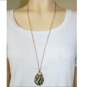 Long Diamond Zebra Necklace